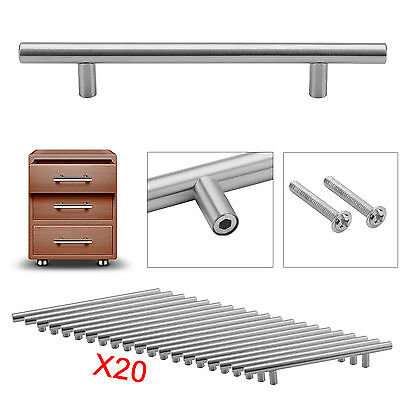 20X Brushed Steel T Bar Handles Kitchen/Cabinet/Door/Cupboard/Drawer/Bedroom UK