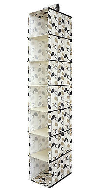 7 Section Wardrobe Hanging Rail Tidy Clothes Shoes Storage Organiser Black Cream