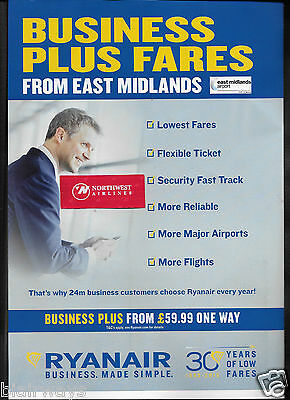 Ryanair East Midlands Airport Business Plus Fares 30Th Anniversary 1985-2015 Ad