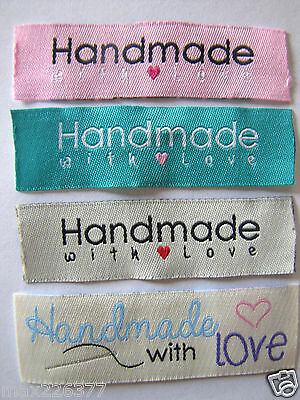 """20 MIX """"HANDMADE WITH LOVE """" SEW ON WOVEN LABELS craft TAGS scrapbook sewing tag"""