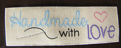 LOT OF 20 HANDMADE WITH LOVE SEW ON WOVEN LABELS craft scrapbook sewing tags