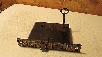 Antique Cast Iron Eastlake Mortise Lock & Key   No. 15
