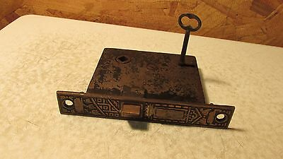 Antique Cast Iron Eastlake Mortise Lock & Key   No. 14