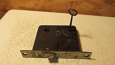 Antique Cast Iron Mortise Lock & Key  No. 9