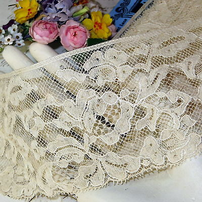 """1y ANTIQUE FRENCH 3"""" WIDE FLORAL ROSE LACE Ivory VICTORIAN EDWARDIAN DRESS DOLL"""