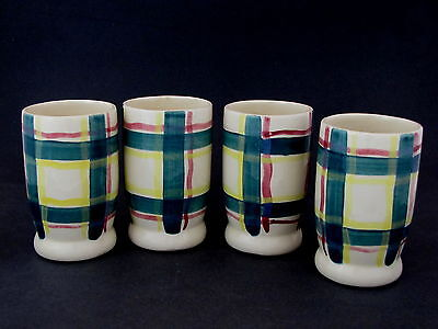 "4 Purinton Pottery Tumblers in Heather Pattern, 5"" tall"
