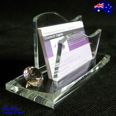 TOP SELLING Glass Diamond Business Name Card Holder Stand | AUSSIE Seller