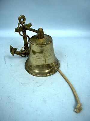 Nautical Themed Wall Hung Brass Bell With Clapper & Rope