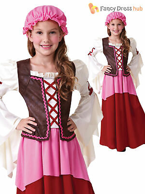 Girls Victorian Wench Maid Medieval Peasant Costume Fancy Dress Kids Childrens