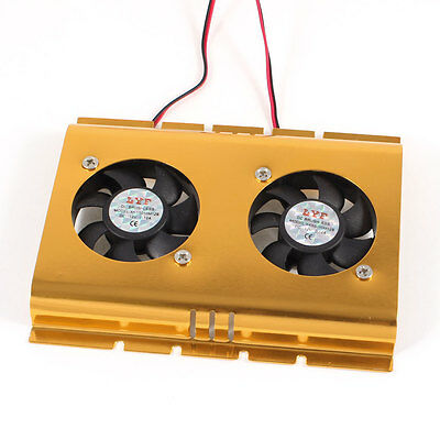 "PC Computer 4 Pin Connector 3.5"" Hard Disk Drive Cooling Cooler 2 Fan Gold Tone"