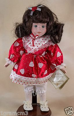 DanDee Soft Expressions Porcelain Valentine Doll With Hearts Dress 12.5 Inch