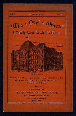 Philately Rare 1892 The Post Office Monthly Stamp Collectors Journal New York