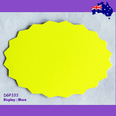 30X Retail Price Sign Card-13x19cm-FLURO Yellowish Green-Pointed | AUSSIE Seller