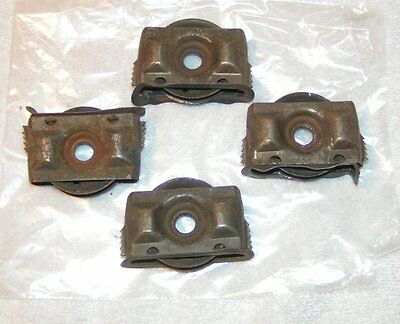 "4 VINTAGE Door / slider metal 2""  pulleys Wheels in casing frames / castors /"