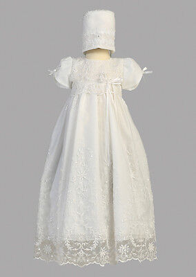 Baby Girls White Floral Embroidered Tulle Dress Gown Christening Baptism Sopia
