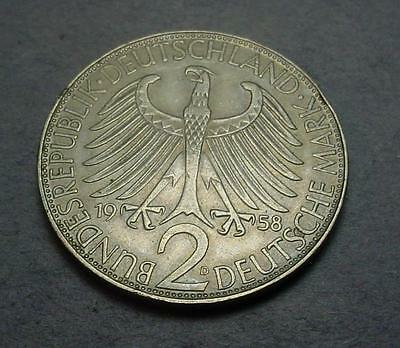 Germany 2 Mark 1958-D Nice Details  KM-116  JF#639
