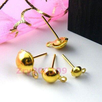Gold Plated Half Ball Stud Earring Post, DIY Findings 4mm,6mm,8mm R0064