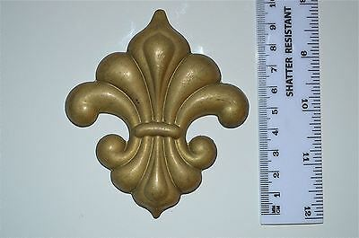 Original antique fleur de lys pressed brass furniture mount mirror cartouche G18
