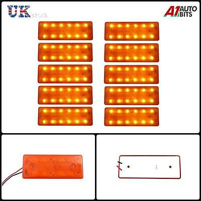 10 Pcs Orange Marker Side Smd Led Trailer Truck Lorry Recovery Lights Lamps 24V