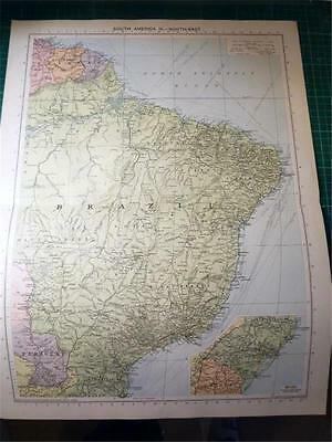 Map From Philip's Atlas 1931 - South America - North East....157-58/31