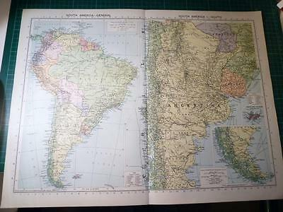 Map From Philip's Atlas 1931 - South America - General & The South....153-54/31