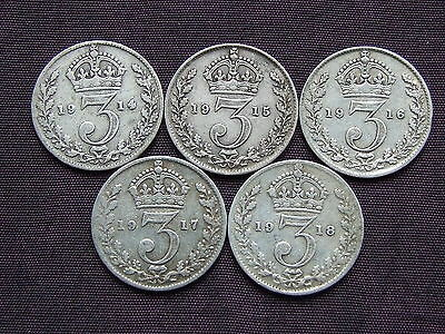 1914, 1915, 1916, 1917, 1918 WW1 Silver Threepence Collection - FREEPOST (D351)
