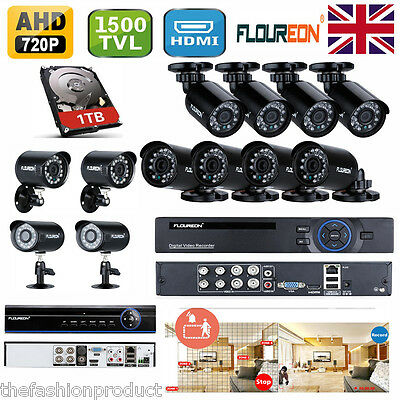 1TB,1500TVL CCTV Camera 4/8 Channel AHD DVR Outdoor Security Complete System Kit