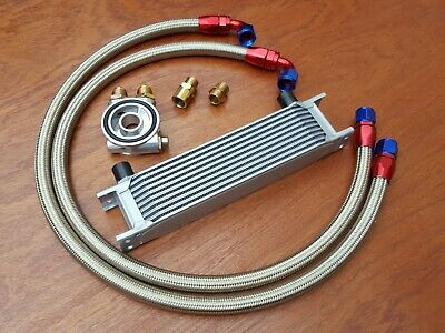 Renault 5 Gt Turbo Oil Cooler Kit 10 Row 235Mm Braided Steel Hoses + Thermostat