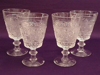 "Duncan & Miller Sandwich Glass Water Goblets 5-5/8"" - Set Of 4"