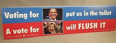 LOT OF 10 ANTI OBAMA HILLARY IN TOILET STICKER decal Vote for Trump President US
