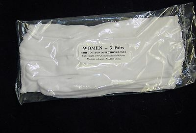 3 Pairs Womens White Cotton Inspection Glove New