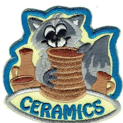 Girl Boy Cub CERAMICS raccoon painting Fun Patches Crests Badges SCOUTS GUIDE