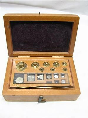 Fine Antique Set Apothecary Balance Weights Gold Scale w/Box Pharmacy