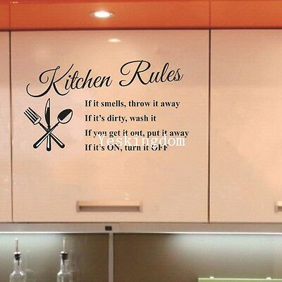 DIY Removable Art Vinyl Quote Wall Sticker Mural Kitchen Rules Decal Home New