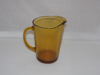 Vintage Heavy Amber Honeycomb Glass Water / Beer Pitcher