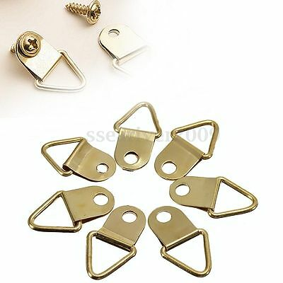 50Pcs D Ring Golden Brass Triangle Photo Picture Frame Wall Mount Hook Hanger