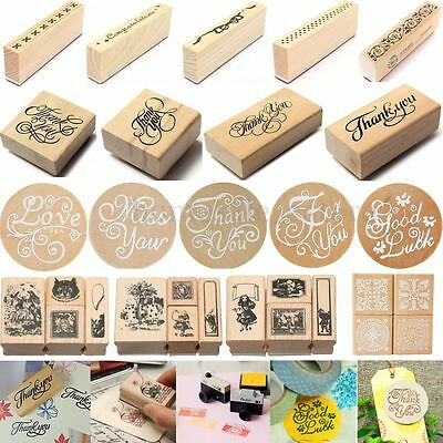 Retro Wooden Rubber Seal Stamp Set Scrapbooking Diary Card Wedding Craft Gift