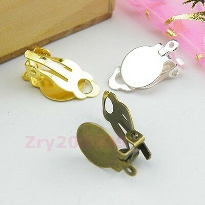 30Pcs Flat Pad Clip On Earring Ear wire With Loop Silver/Gold/Bronze R0077