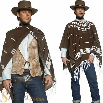 Mens Western Cowboy Wandering Gunman Fancy Dress Costume Clint Eastwood Poncho