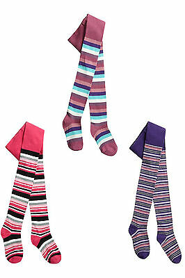 New Childrens Girls cotton rich Pink purple striped Tights - Girl 2-8 years
