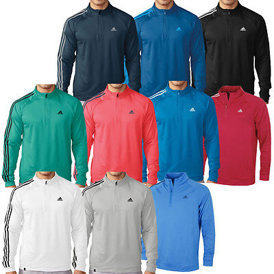 Adidas Golf 2016 Mens 3-Stripes 1/4 Zip LC Pullover Performance Layering Top