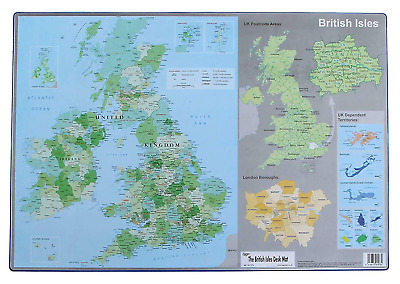 British Isles UK Map Atlas Computer Desk Mat Durable Writing Mouse 590 x 400mm
