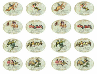 ~Vintage Image Shabby Victorian Roses Birds Labels Waterslide Decals~ LAB421