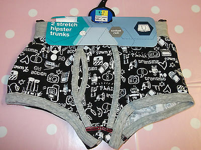 Marks & Spencer Boys Age 6-7 Year Black Mix Stretch Hipster Trunks (2 Pairs) NEW