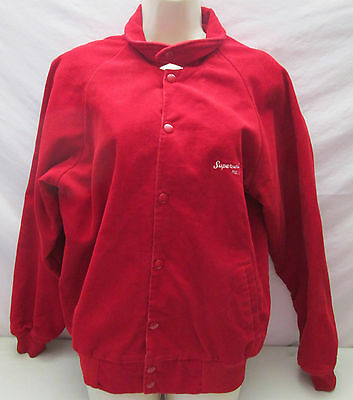Vintage K Brand USA Men's Jacket M Red Corduroy Supersweet Feeds Embroidered