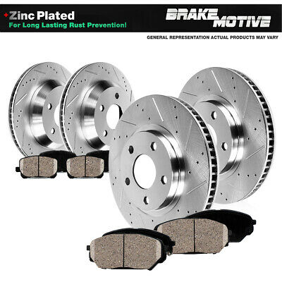 Front & Rear Drilled Slotted Brake Rotors And Ceramic Pads Fits: 10-13 Genesis