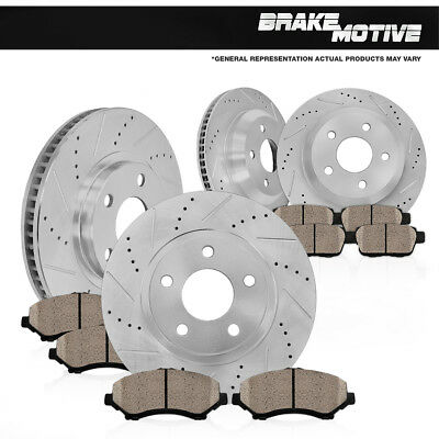 FRONT & REAR DRILLED SLOTTED BRAKE ROTORS AND CERAMIC PADS BMW 325i 328i E90