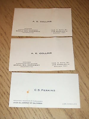 RARE 1950s (3) Shell & Union Oil  Business Cards + PERSONAL MESSAGES Los Angeles