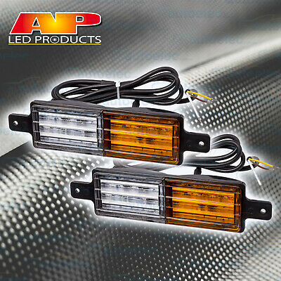 2x LED FRONT INDICATOR CLEAR AMBER LIGHT LAMP ARB TJM BULLBAR 4X4 4WD 12V 24V