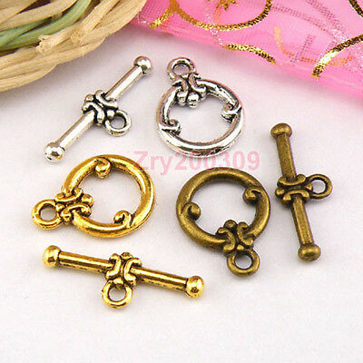 10Sets Tibetan Silver,Antiqued Gold,Bronze Circle Connectors Toggle Clasps M1420